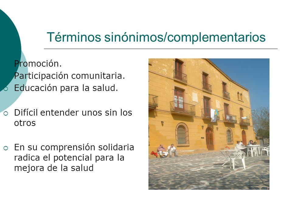 Términos sinónimos/complementarios Promoción.Participación comunitaria.