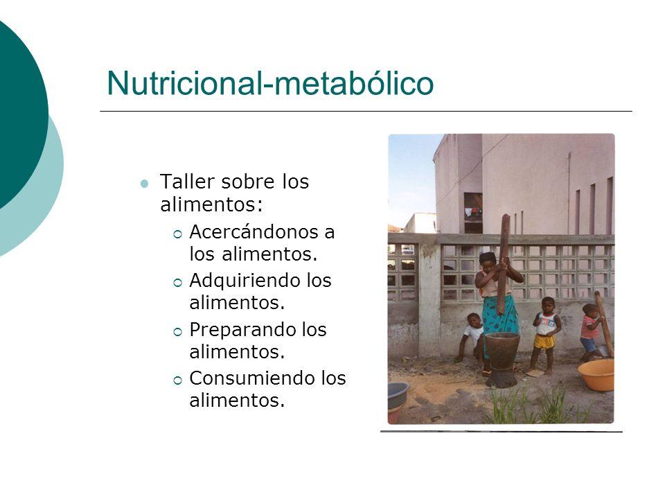 Nutricional-metabólico Taller sobre los alimentos: Acercándonos a los alimentos. Adquiriendo los alimentos. Preparando los alimentos. Consumiendo los