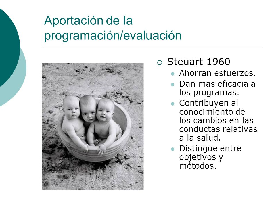 Aportación de la programación/evaluación Steuart 1960 Ahorran esfuerzos. Dan mas eficacia a los programas. Contribuyen al conocimiento de los cambios