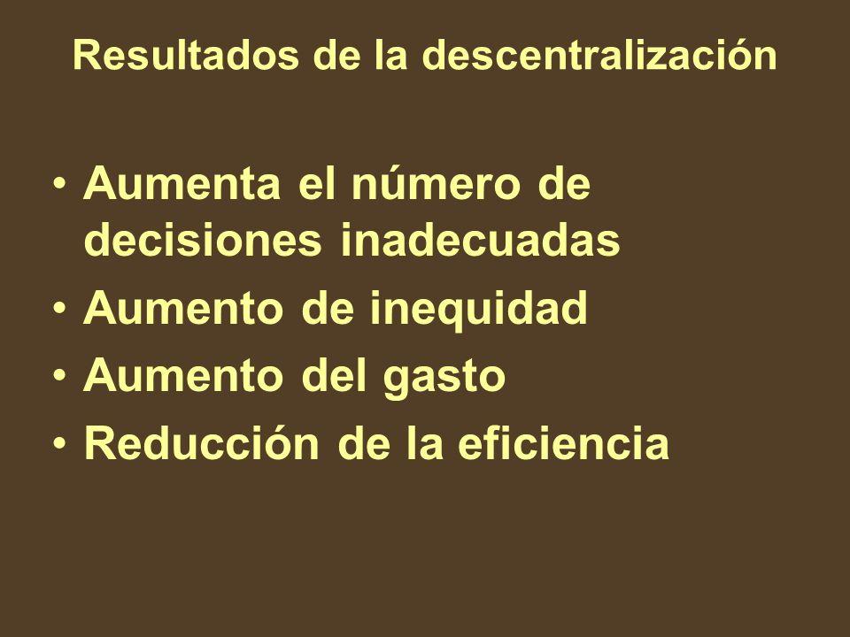 Resultados de la descentralización Aumenta el número de decisiones inadecuadas Aumento de inequidad Aumento del gasto Reducción de la eficiencia