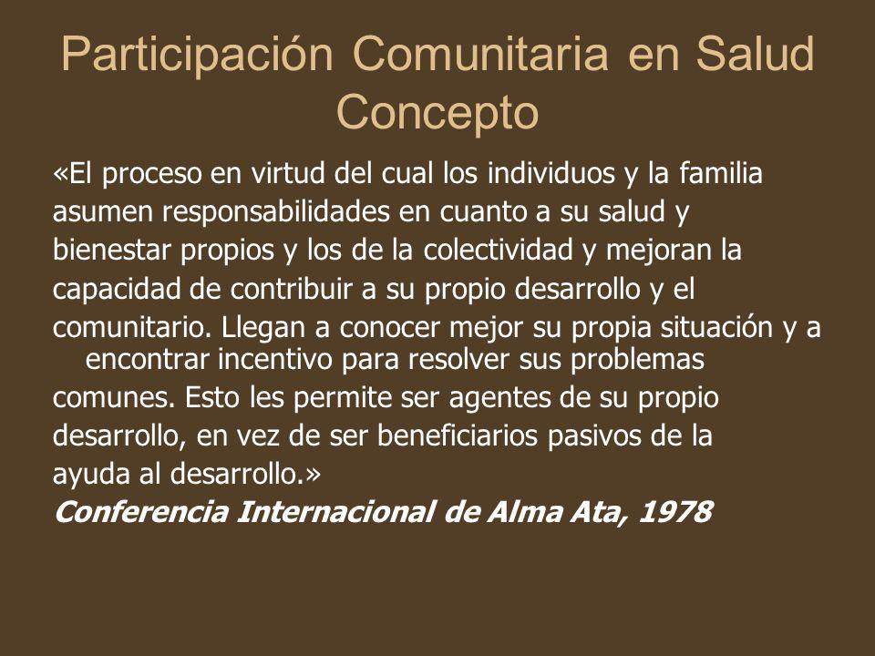 Participación Comunitaria en Salud La participación comunitaria en Argentina al igual que ocurre en otros países, es una característica poco desarrollada, debatida, controvertida y escasamente puesta en práctica.