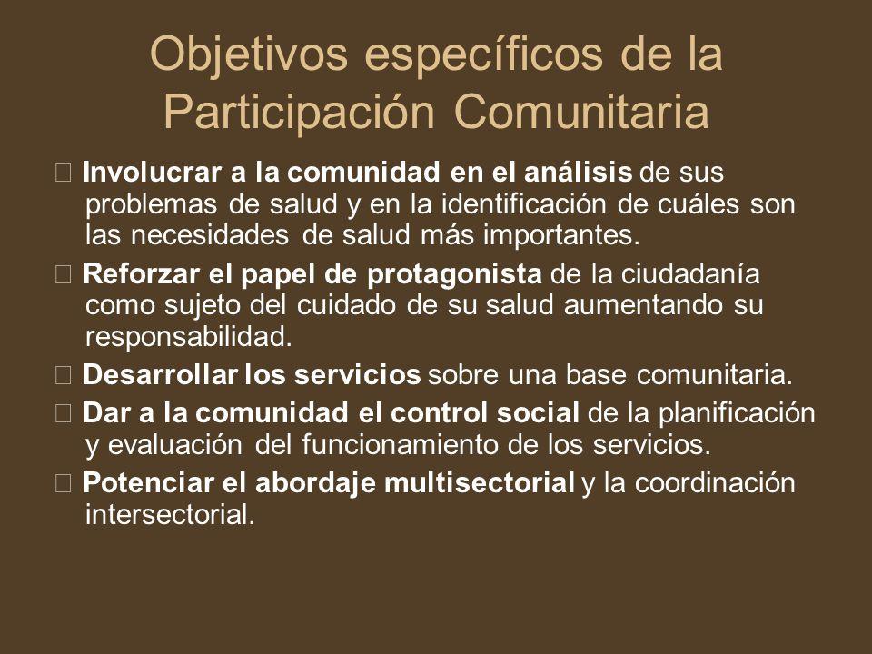 Objetivos específicos de la Participación Comunitaria Involucrar a la comunidad en el análisis de sus problemas de salud y en la identificación de cuá