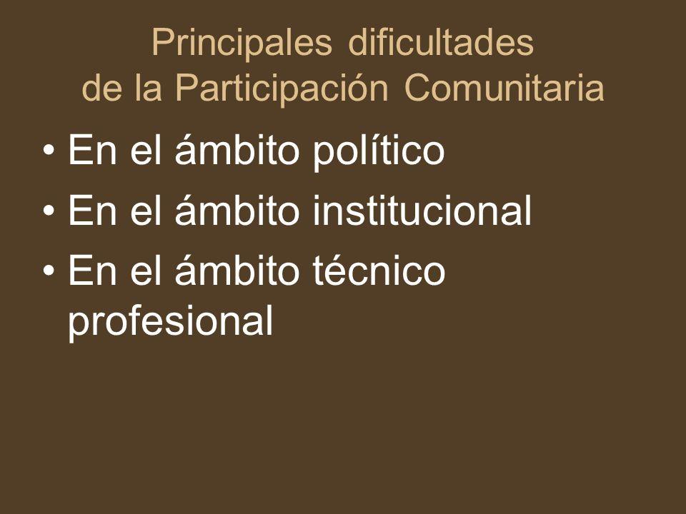Principales dificultades de la Participación Comunitaria En el ámbito político En el ámbito institucional En el ámbito técnico profesional