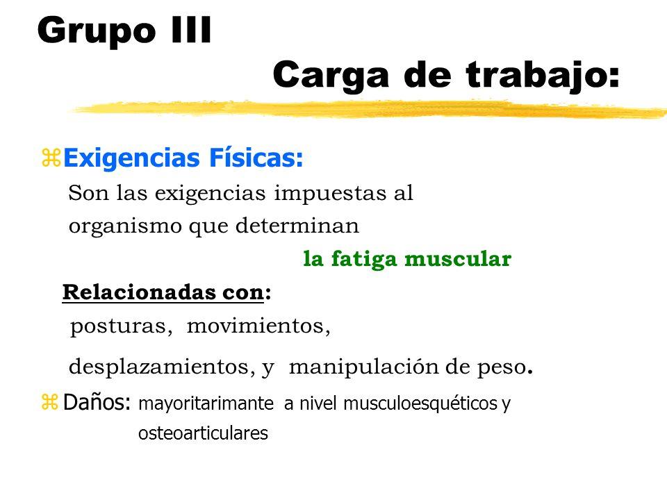 Grupo III Carga de trabajo: Exigencias Físicas: Son las exigencias impuestas al organismo que determinan la fatiga muscular Relacionadas con: posturas, movimientos, desplazamientos, y manipulación de peso.