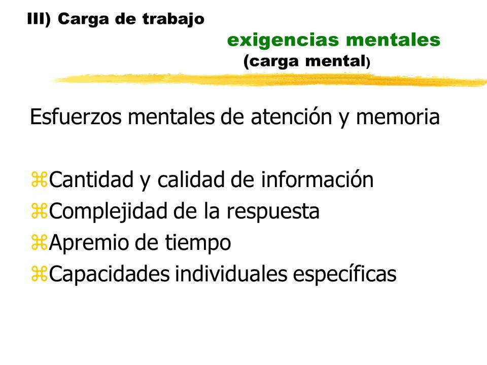 III) Carga de trabajo exigencias mentales (carga mental ) Esfuerzos mentales de atención y memoria Cantidad y calidad de información Complejidad de la respuesta Apremio de tiempo Capacidades individuales específicas