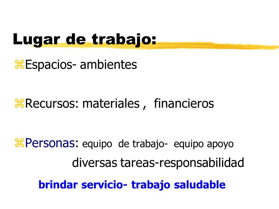 Lugar de trabajo: Espacios- ambientes Recursos: materiales, financieros Personas: equipo de trabajo- equipo apoyo diversas tareas-responsabilidad brindar servicio- trabajo saludable