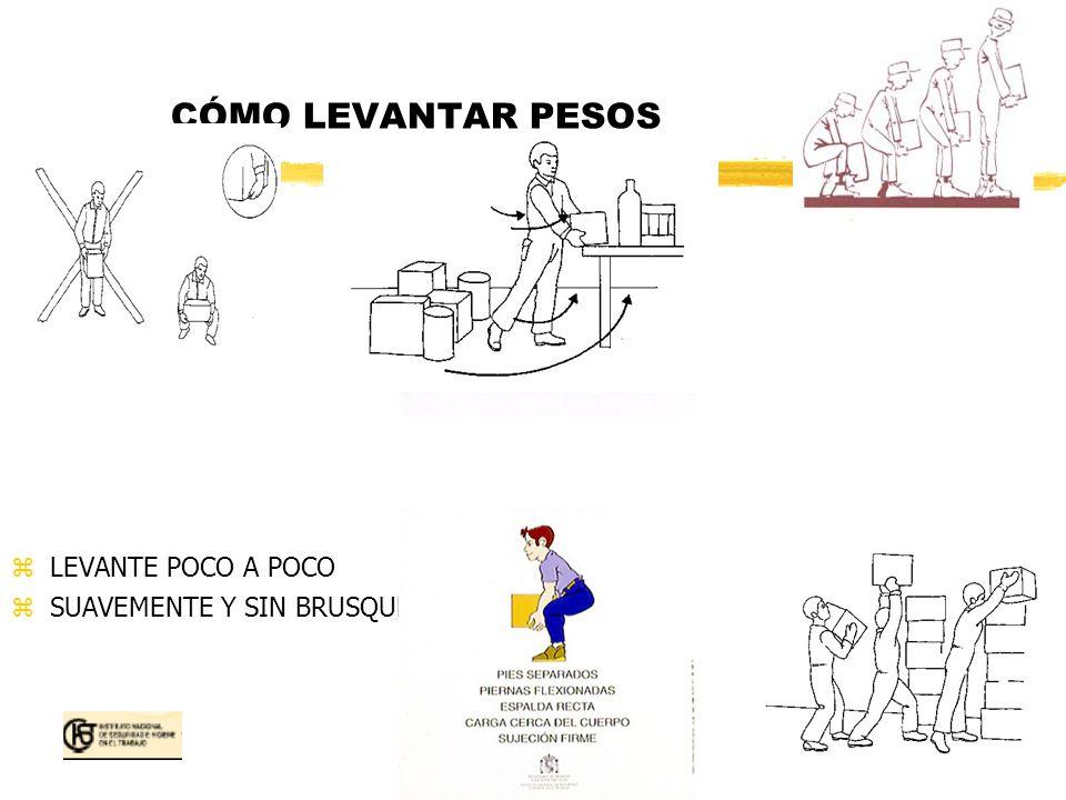 CÓMO LEVANTAR PESOS LEVANTE POCO A POCO SUAVEMENTE Y SIN BRUSQUEDADES