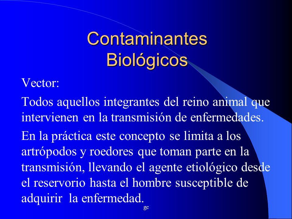 gc Contaminantes Biológicos Vector: Todos aquellos integrantes del reino animal que intervienen en la transmisión de enfermedades. En la práctica este
