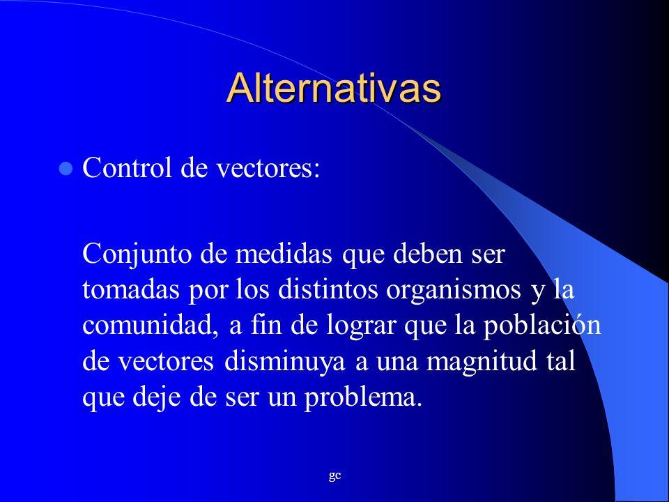 gc Alternativas Control de vectores: Conjunto de medidas que deben ser tomadas por los distintos organismos y la comunidad, a fin de lograr que la pob