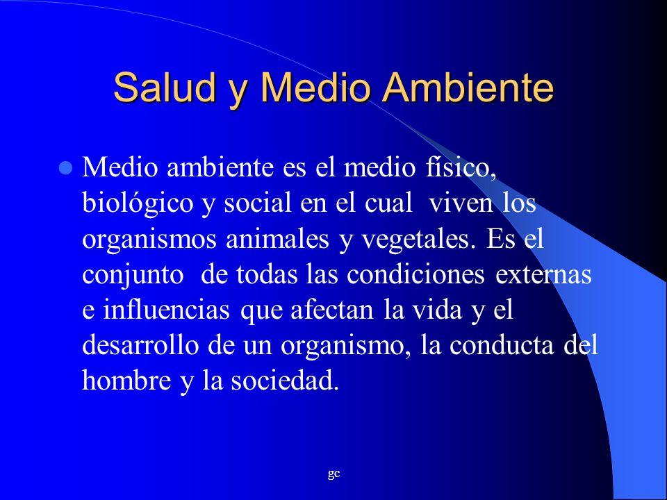 gc Salud y Medio Ambiente Medio ambiente es el medio físico, biológico y social en el cual viven los organismos animales y vegetales. Es el conjunto d