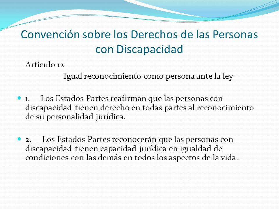 Convención sobre los Derechos de las Personas con Discapacidad Artículo 12 Igual reconocimiento como persona ante la ley 1.