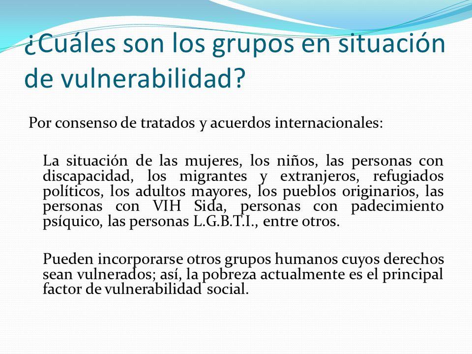 ¿Cuáles son los grupos en situación de vulnerabilidad.