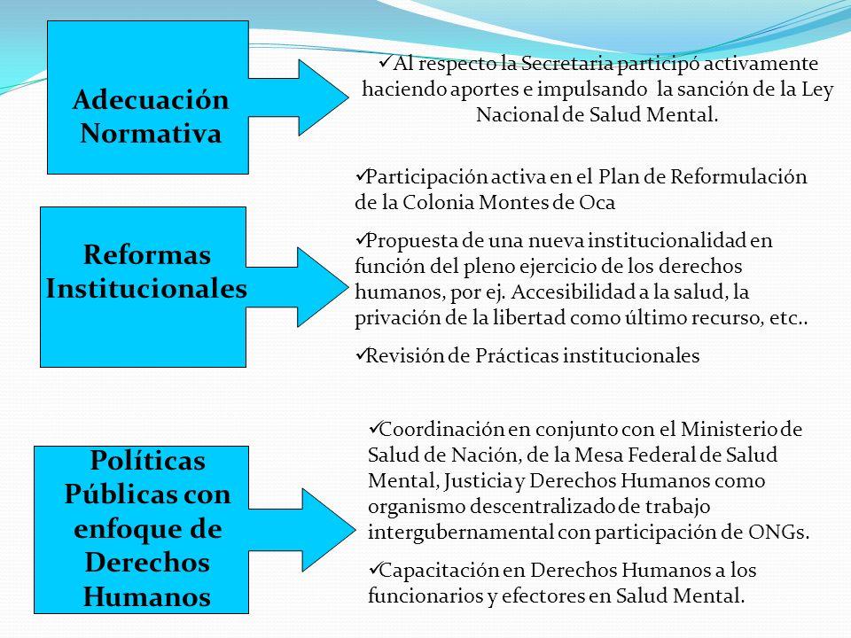 Adecuación Normativa Reformas Institucionales Políticas Públicas con enfoque de Derechos Humanos Al respecto la Secretaria participó activamente haciendo aportes e impulsando la sanción de la Ley Nacional de Salud Mental.