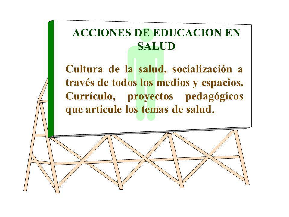 ACCIONES DE EDUCACION EN SALUD Cultura de la salud, socialización a través de todos los medios y espacios. Currículo, proyectos pedagógicos que articu