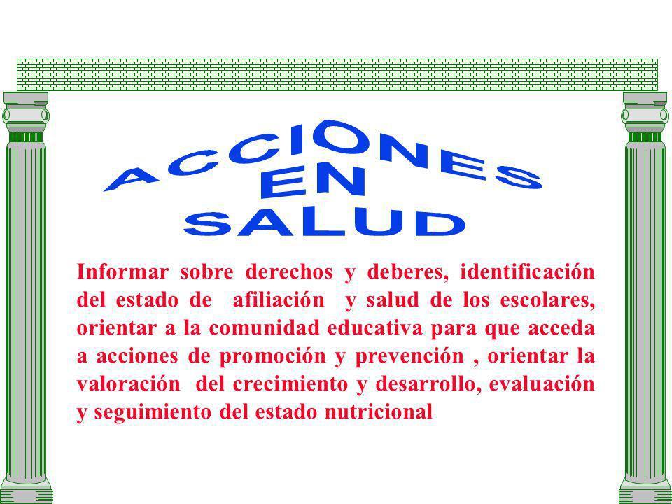Informar sobre derechos y deberes, identificación del estado de afiliación y salud de los escolares, orientar a la comunidad educativa para que acceda