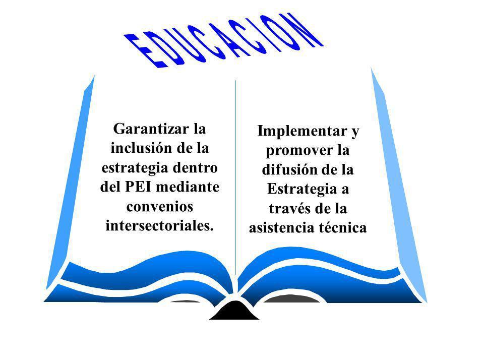 Garantizar la inclusión de la estrategia dentro del PEI mediante convenios intersectoriales. Implementar y promover la difusión de la Estrategia a tra