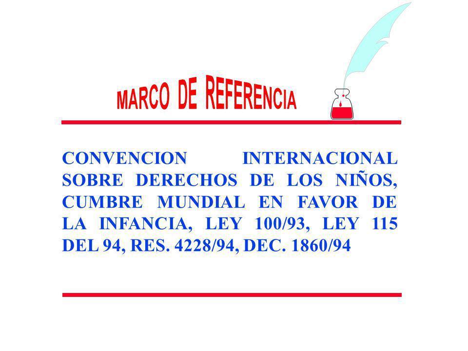 CONVENCION INTERNACIONAL SOBRE DERECHOS DE LOS NIÑOS, CUMBRE MUNDIAL EN FAVOR DE LA INFANCIA, LEY 100/93, LEY 115 DEL 94, RES. 4228/94, DEC. 1860/94.