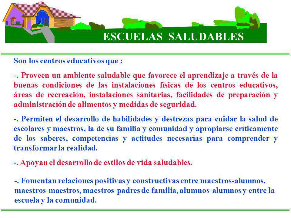 ESCUELAS SALUDABLES Son los centros educativos que : -. Proveen un ambiente saludable que favorece el aprendizaje a través de la buenas condiciones de