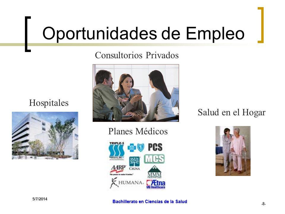 5/7/2014 Bachillerato en Ciencias de la Salud -9- Consultorios Médicos Privados Clínicas Empresas Farmacéuticas Oportunidades de Empleo Hospicios Empresas Comerciales