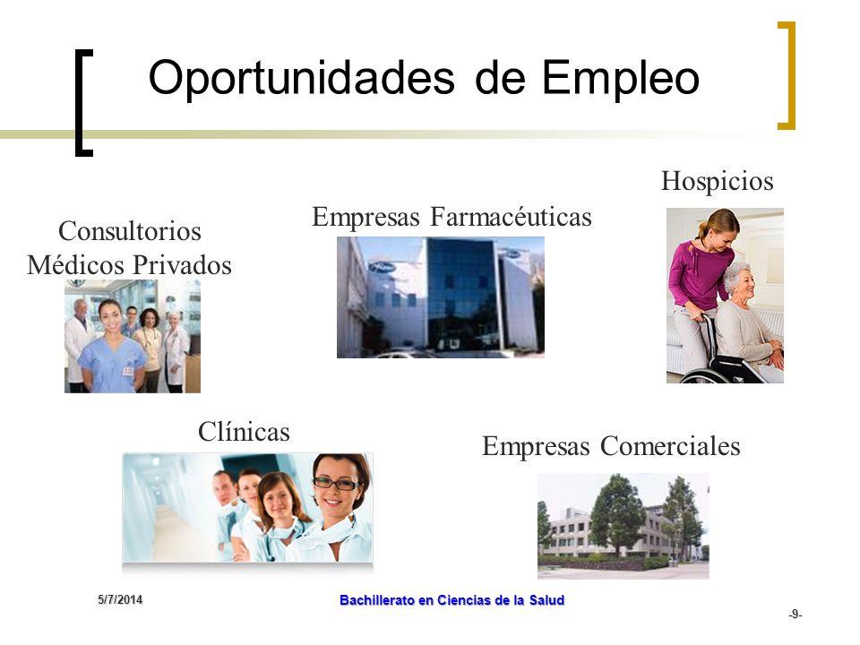5/7/2014 Bachillerato en Ciencias de la Salud -9- Consultorios Médicos Privados Clínicas Empresas Farmacéuticas Oportunidades de Empleo Hospicios Empr