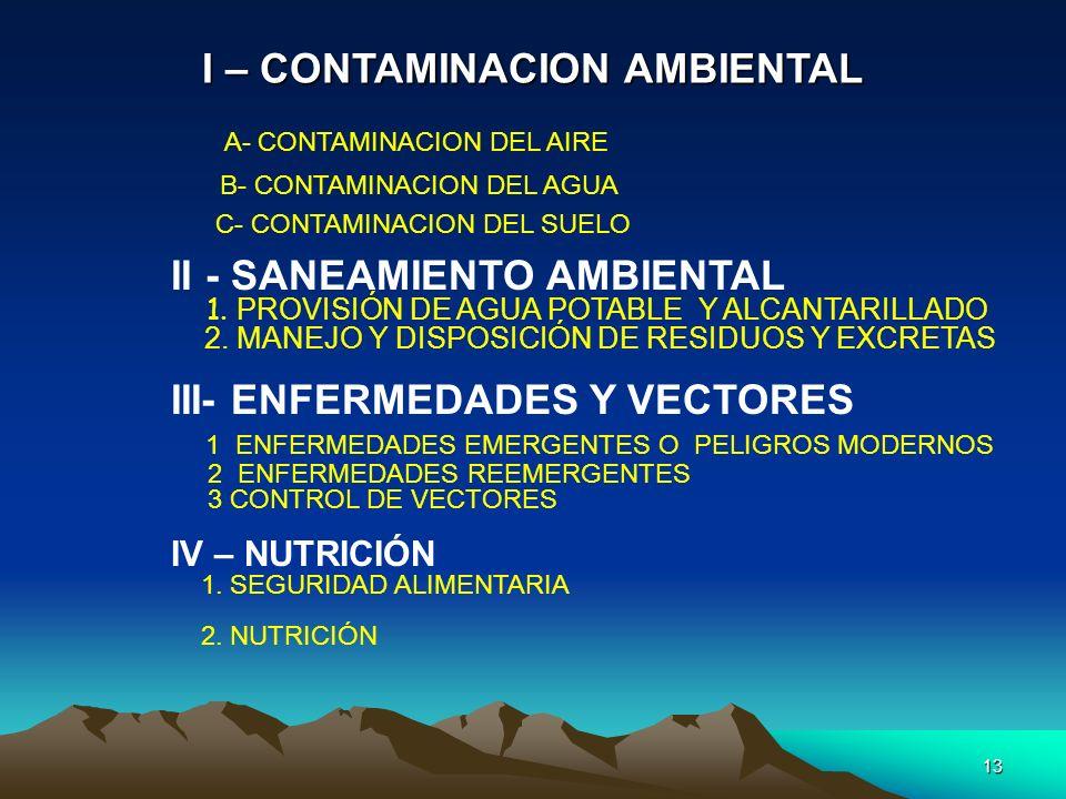 13 I – CONTAMINACION AMBIENTAL A- CONTAMINACION DEL AIRE B- CONTAMINACION DEL AGUA C- CONTAMINACION DEL SUELO II - SANEAMIENTO AMBIENTAL 1. PROVISIÓN