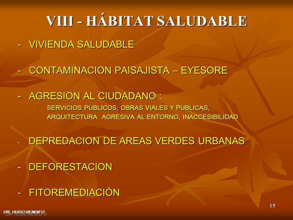 15 VIII - HÁBITAT SALUDABLE - VIVIENDA SALUDABLE - CONTAMINACION PAISAJISTA – EYESORE - AGRESION AL CIUDADANO : SERVICIOS PUBLICOS, OBRAS VIALES Y PUB