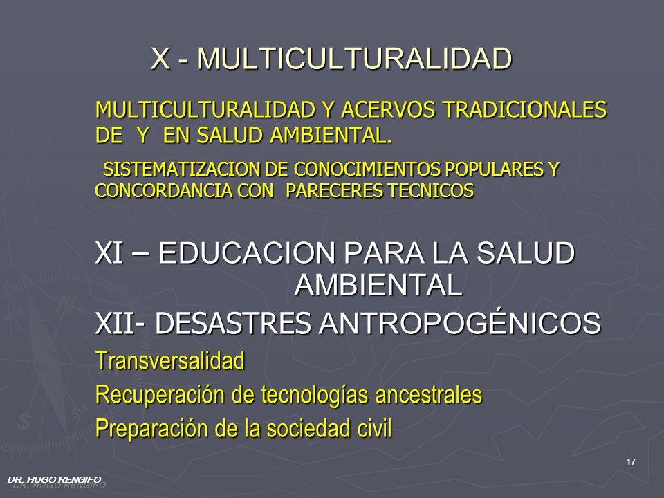17 X - MULTICULTURALIDAD MULTICULTURALIDAD Y ACERVOS TRADICIONALES DE Y EN SALUD AMBIENTAL. MULTICULTURALIDAD Y ACERVOS TRADICIONALES DE Y EN SALUD AM
