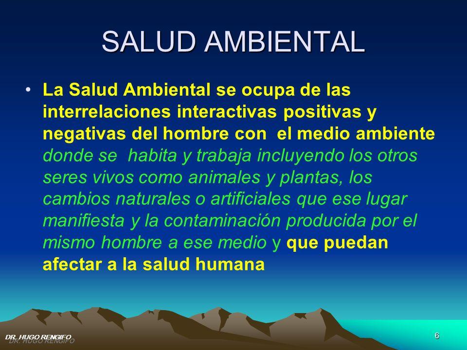 6 SALUD AMBIENTAL La Salud Ambiental se ocupa de las interrelaciones interactivas positivas y negativas del hombre con el medio ambiente donde se habi