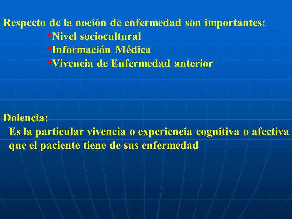 Respecto de la noción de enfermedad son importantes: Nivel sociocultural Información Médica Vivencia de Enfermedad anterior Dolencia: Es la particular vivencia o experiencia cognitiva o afectiva que el paciente tiene de sus enfermedad