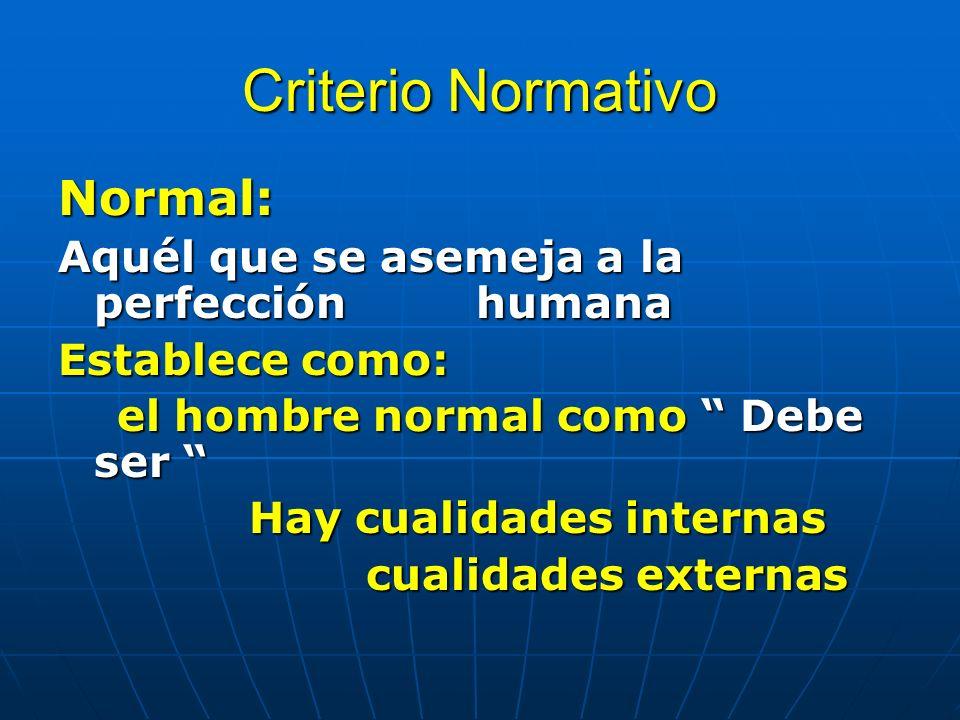 Criterio Normativo Normal: Aquél que se asemeja a la perfección humana Establece como: el hombre normal como Debe ser el hombre normal como Debe ser Hay cualidades internas Hay cualidades internas cualidades externas cualidades externas