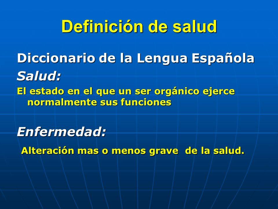 Definición de salud Diccionario de la Lengua Española Salud: El estado en el que un ser orgánico ejerce normalmente sus funciones Enfermedad: Alteración mas o menos grave de la salud.