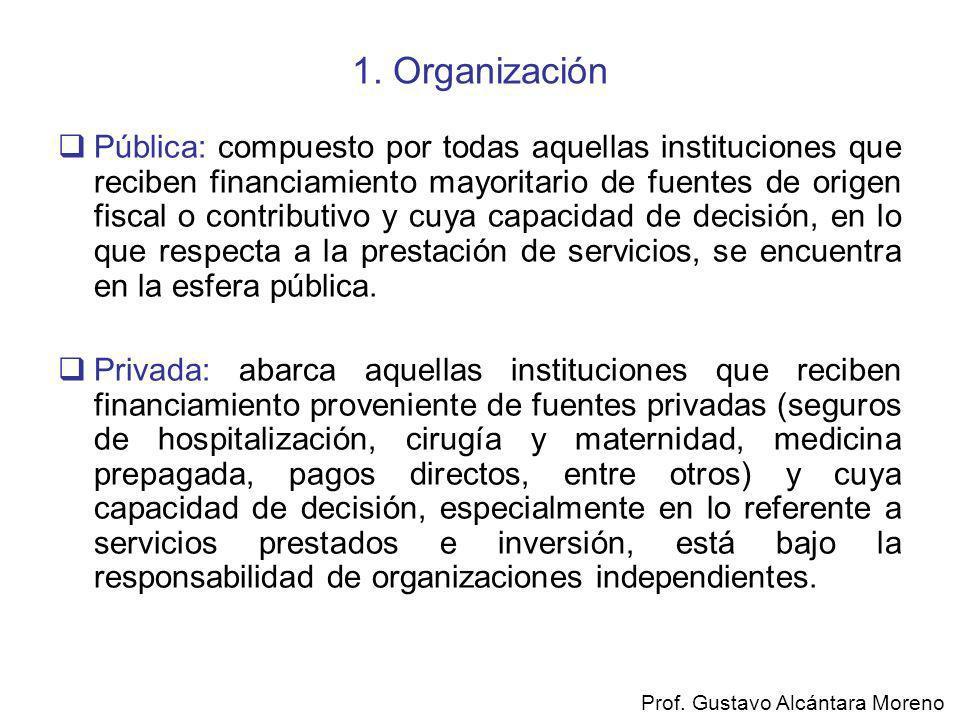 1. Organización Pública: compuesto por todas aquellas instituciones que reciben financiamiento mayoritario de fuentes de origen fiscal o contributivo
