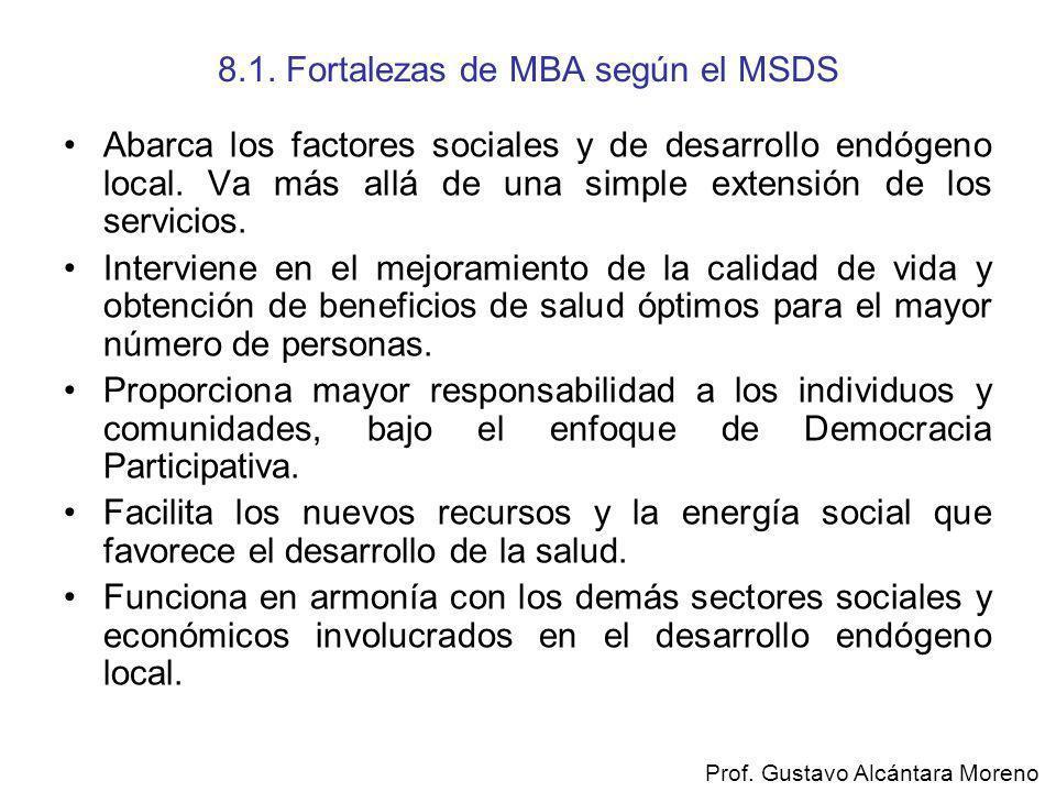 8.1. Fortalezas de MBA según el MSDS Abarca los factores sociales y de desarrollo endógeno local. Va más allá de una simple extensión de los servicios