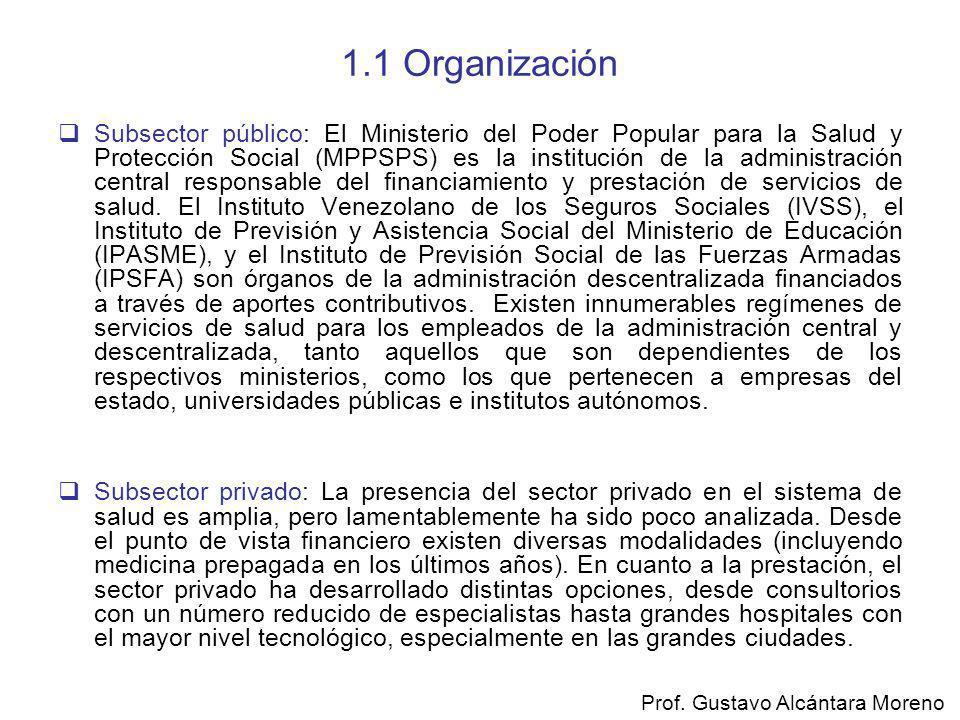 1.1 Organización Subsector público: El Ministerio del Poder Popular para la Salud y Protección Social (MPPSPS) es la institución de la administración