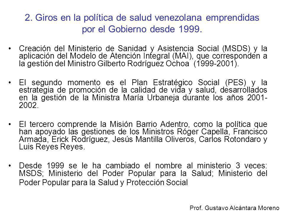2. Giros en la política de salud venezolana emprendidas por el Gobierno desde 1999. Creación del Ministerio de Sanidad y Asistencia Social (MSDS) y la