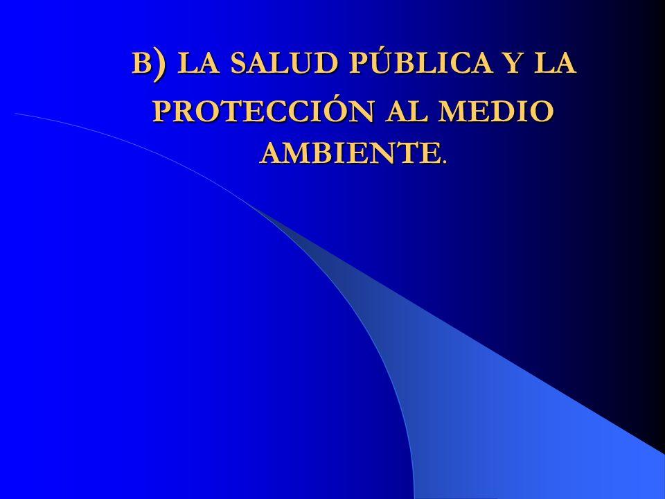 B ) LA SALUD PÚBLICA Y LA PROTECCIÓN AL MEDIO AMBIENTE.