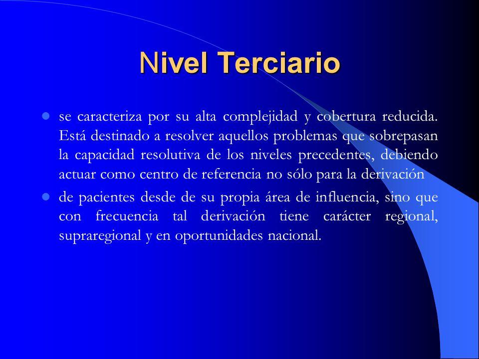 Nivel Terciario se caracteriza por su alta complejidad y cobertura reducida. Está destinado a resolver aquellos problemas que sobrepasan la capacidad