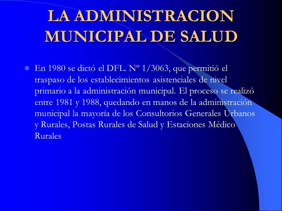 LA ADMINISTRACION MUNICIPAL DE SALUD En 1980 se dictó el DFL. Nº 1/3063, que permitió el traspaso de los establecimientos asistenciales de nivel prima