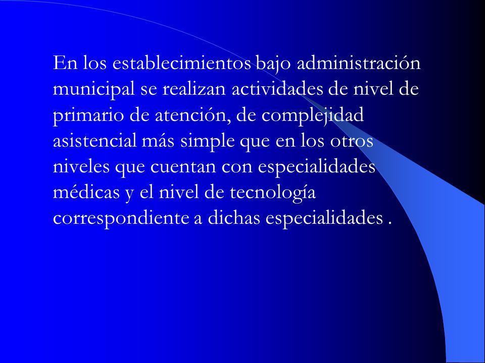 En los establecimientos bajo administración municipal se realizan actividades de nivel de primario de atención, de complejidad asistencial más simple