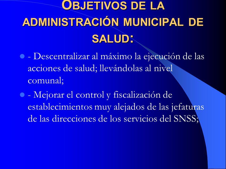 O BJETIVOS DE LA ADMINISTRACIÓN MUNICIPAL DE SALUD : - Descentralizar al máximo la ejecución de las acciones de salud; llevándolas al nivel comunal; -