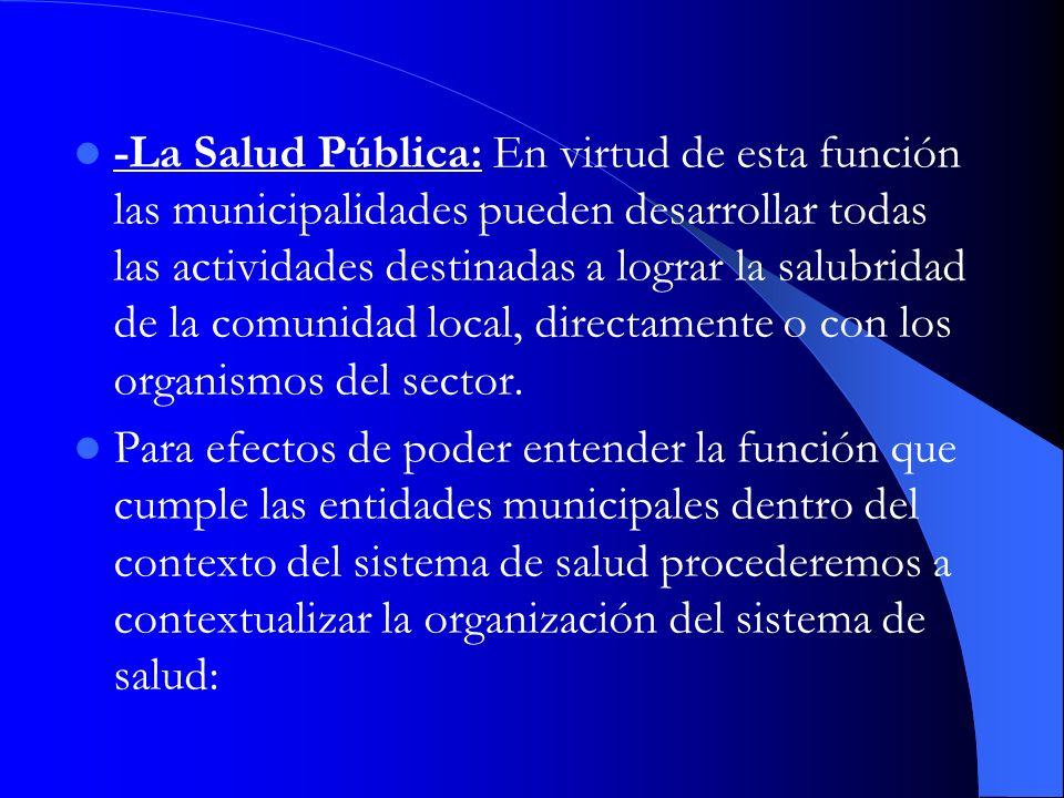 -La Salud Pública: En virtud de esta función las municipalidades pueden desarrollar todas las actividades destinadas a lograr la salubridad de la comu