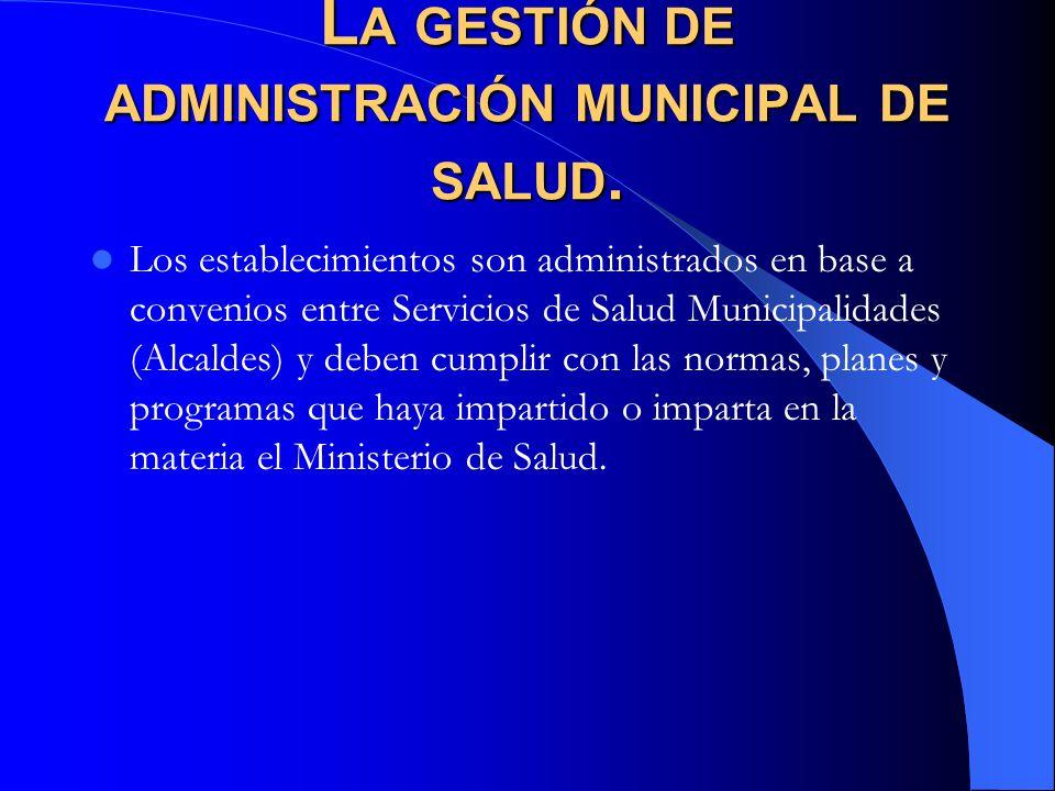 L A GESTIÓN DE ADMINISTRACIÓN MUNICIPAL DE SALUD. Los establecimientos son administrados en base a convenios entre Servicios de Salud Municipalidades