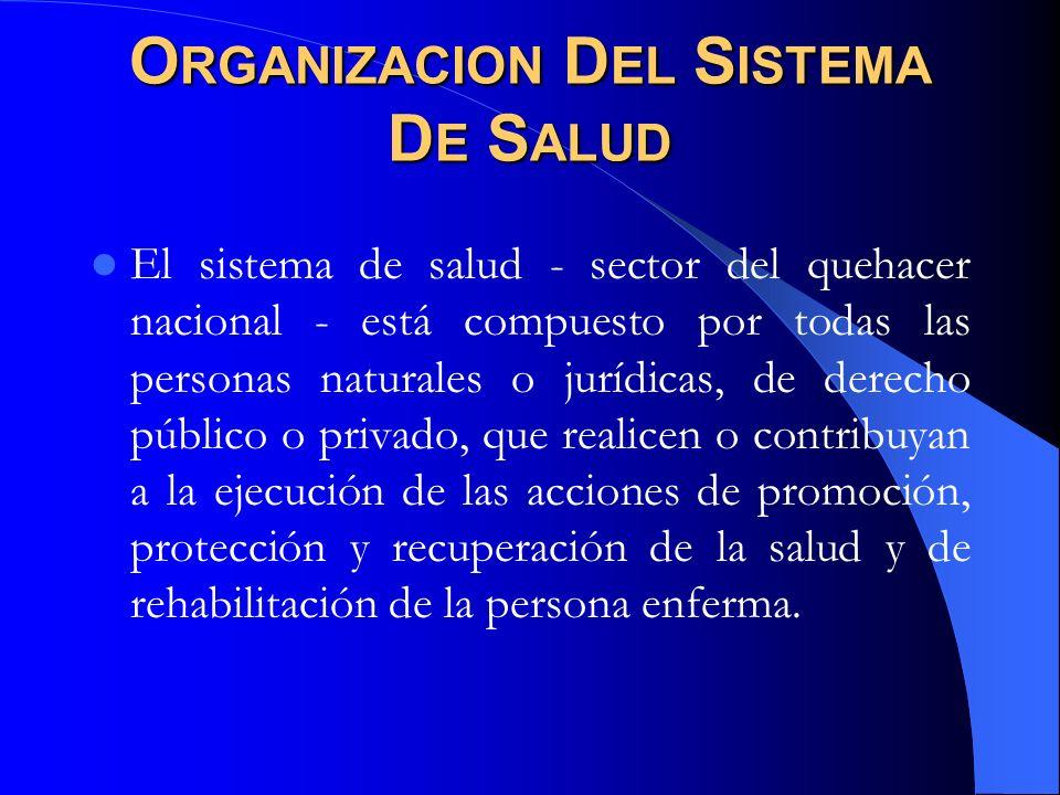 O RGANIZACION D EL S ISTEMA D E S ALUD El sistema de salud - sector del quehacer nacional - está compuesto por todas las personas naturales o jurídica