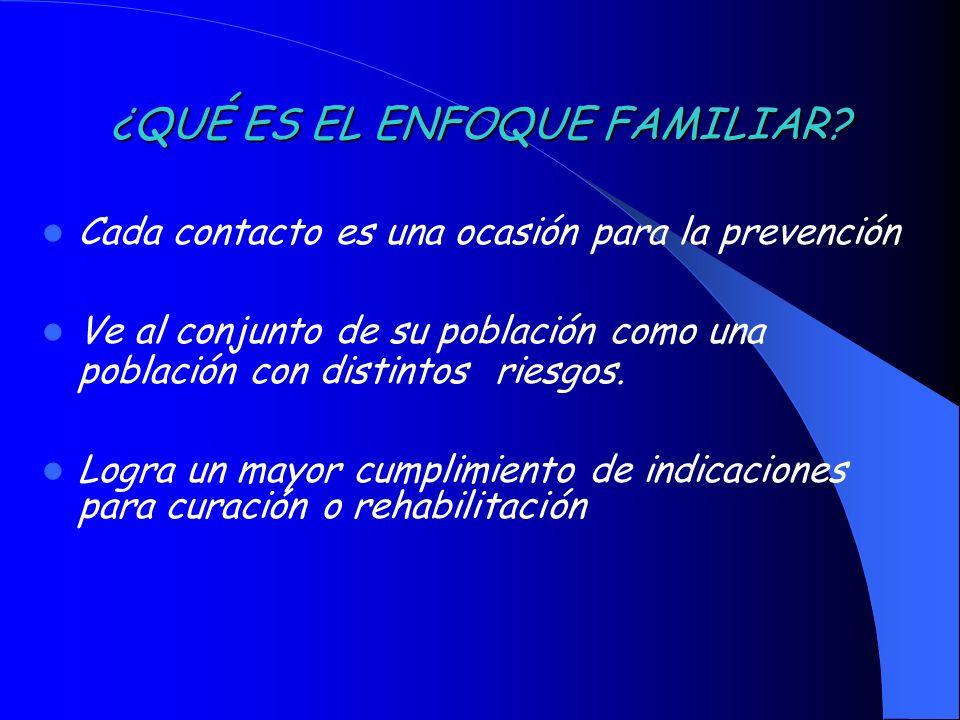 ¿QUÉ ES EL ENFOQUE FAMILIAR? Cada contacto es una ocasión para la prevención Ve al conjunto de su población como una población con distintos riesgos.