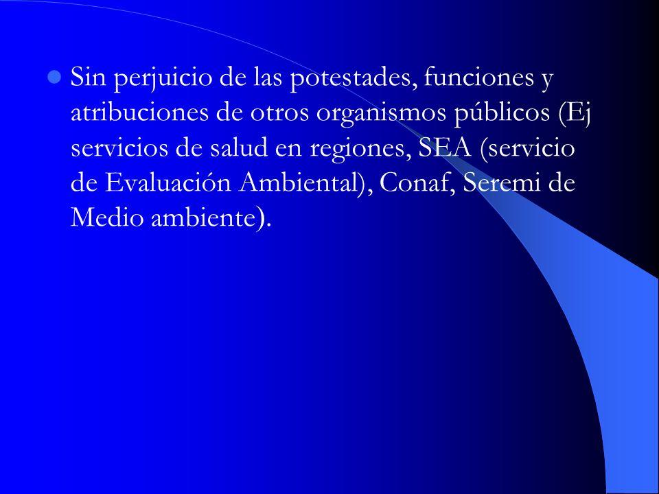 Sin perjuicio de las potestades, funciones y atribuciones de otros organismos públicos (Ej servicios de salud en regiones, SEA (servicio de Evaluación