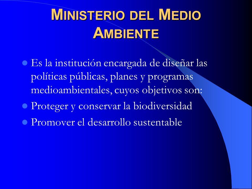 M INISTERIO DEL M EDIO A MBIENTE Es la institución encargada de diseñar las políticas públicas, planes y programas medioambientales, cuyos objetivos s