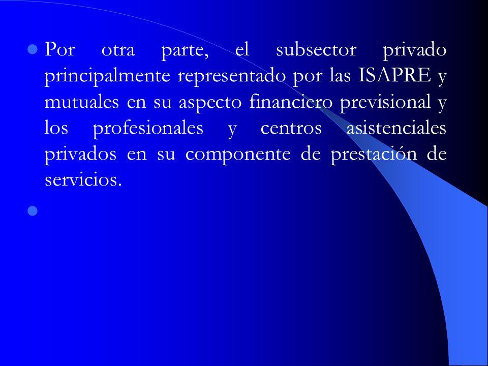 Por otra parte, el subsector privado principalmente representado por las ISAPRE y mutuales en su aspecto financiero previsional y los profesionales y