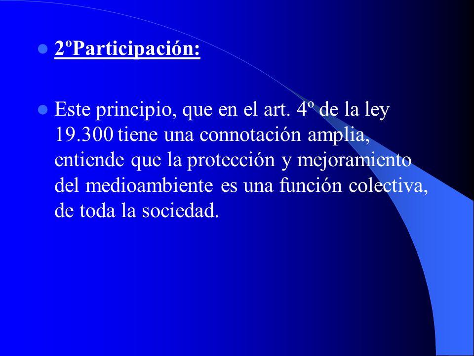 2ºParticipación: Este principio, que en el art. 4º de la ley 19.300 tiene una connotación amplia, entiende que la protección y mejoramiento del medioa