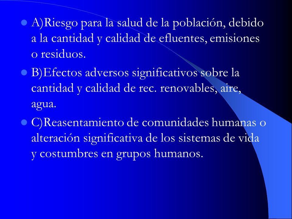 A)Riesgo para la salud de la población, debido a la cantidad y calidad de efluentes, emisiones o residuos. B)Efectos adversos significativos sobre la