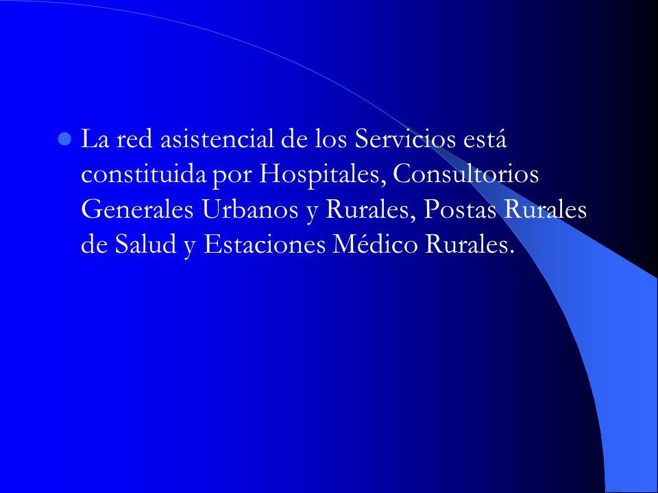 La red asistencial de los Servicios está constituida por Hospitales, Consultorios Generales Urbanos y Rurales, Postas Rurales de Salud y Estaciones Mé